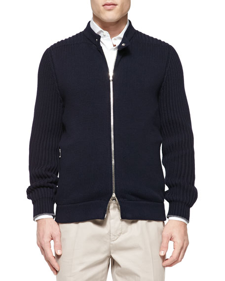 Brunello Cucinelli Chunky-Knit Full-Zip Sweater, Navy