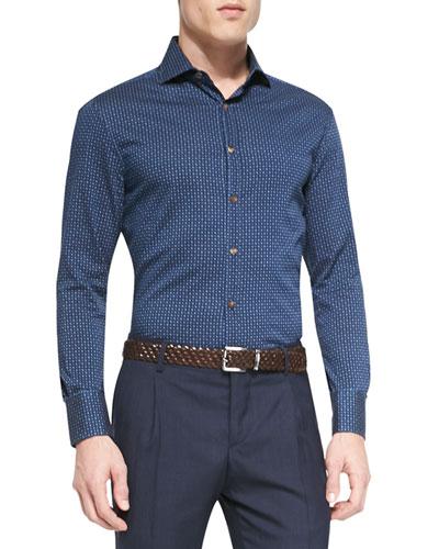Denim Polka-Dot Long-Sleeve Sport Shirt, Indigo