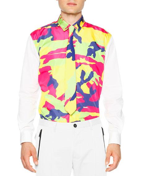 Dsquared2 Multi Color Camo Long Sleeve Shirt White