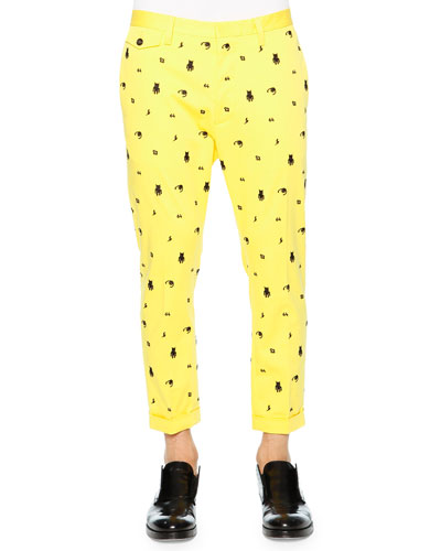 Monster Embroidered Pants, Yellow
