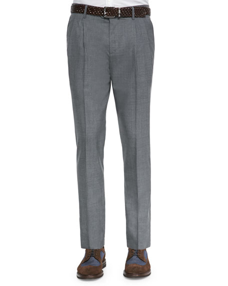 Brunello Cucinelli Double-Pleated Wool Trousers, Medium Gray