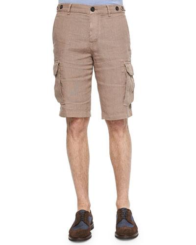 Linen Cargo Shorts, Light Tan