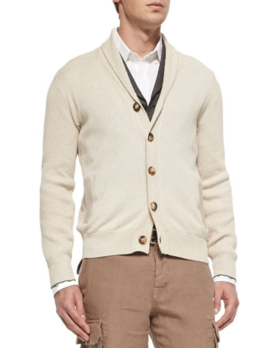 Shawl-Collar Chunky Cardigan, Beige