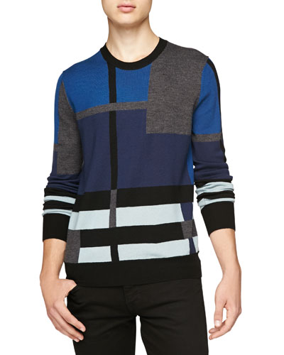 Crewneck Abstract Check Sweater, Blue