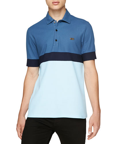 Short-Sleeve Colorblock Striped Polo, Blue
