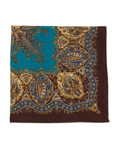 Bandana Wool Pocket Square, Brown/Teal