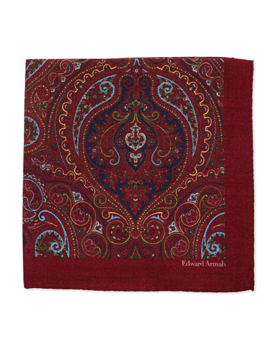 Paisley-Print Wool Pocket Square, Burgundy