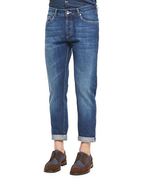 Brunello Cucinelli Slim-Fit Selvedge Denim Jeans, Blue