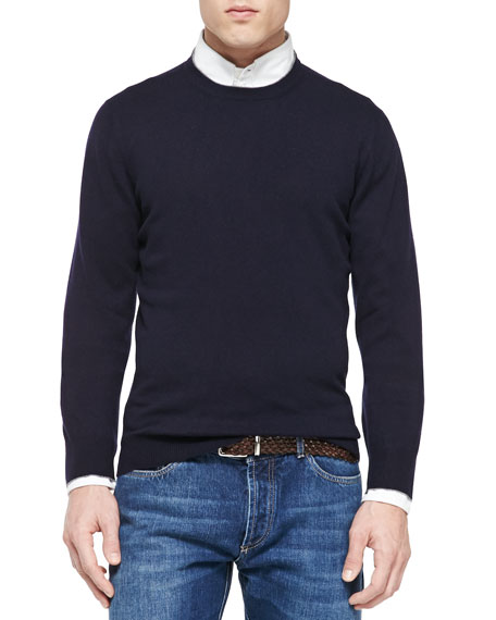Brunello Cucinelli Cashmere Crewneck Pullover Sweater, Navy