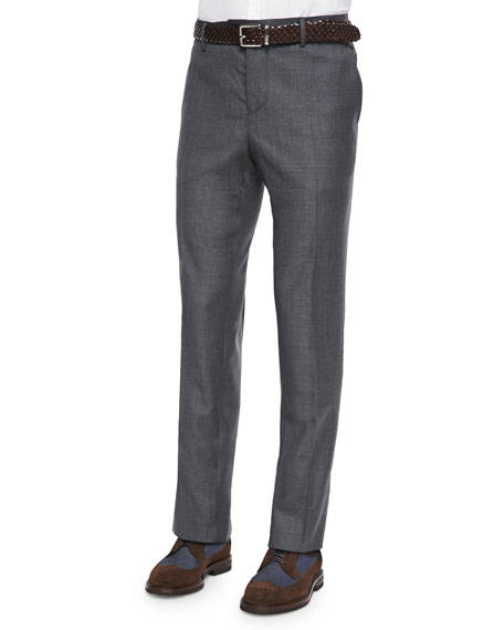 Brunello Cucinelli Flat-Front Wool Trousers, Dark Gray