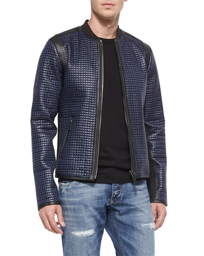 Coated Nylon Quilted Jacket, Blue