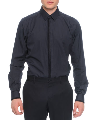 Passementerie-Placket Woven Shirt, Navy