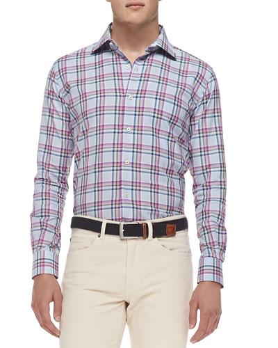 Button-Down Plaid Shirt, Purple