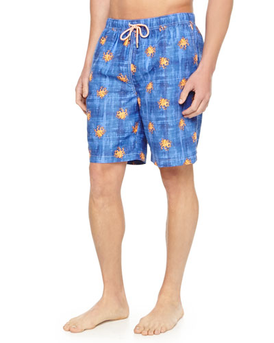Octopus-Print Swim Trunks, Navy
