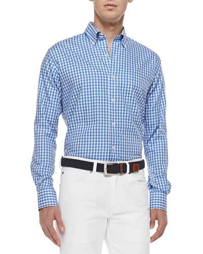 Gingham Tattersall Sport Shirt, Blue