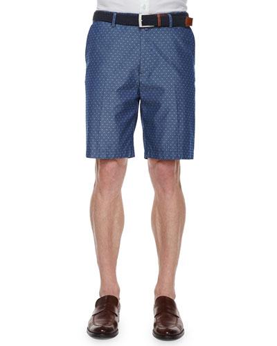 Jacquard-Print Flat-Front Shorts, Dark Blue