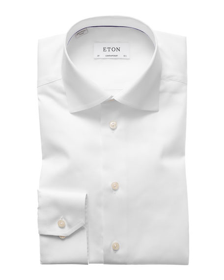 Eton Solid Fine Twill Dress Shirt, White