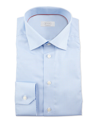 Eton Gingham-Check Dress Shirt, Light Blue