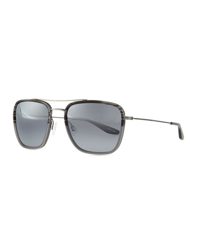 Barton Perreira Collins Square Aviator Sunglasses, Gray