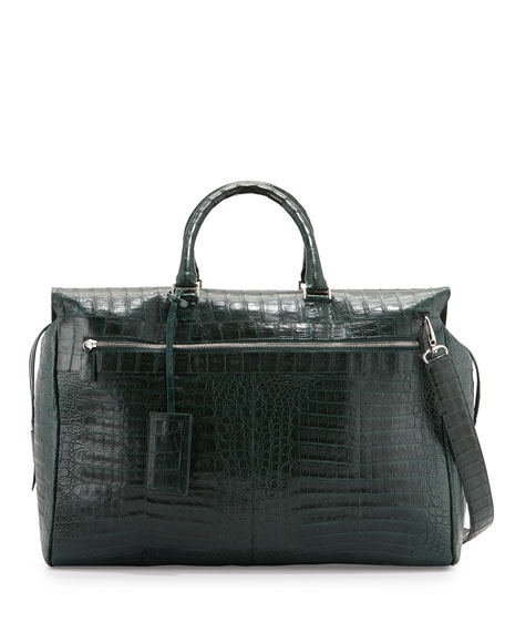 Santiago Gonzalez Crocodile Duffel Bag, Green