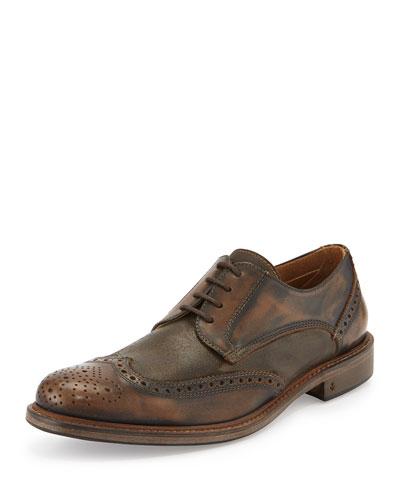 John Varvatos Calf Skin College Wing-tip Lace-Up, Brown