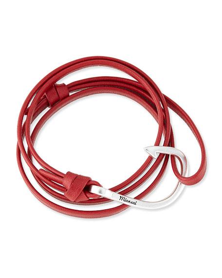Miansai Hook Leather Bracelet, Red