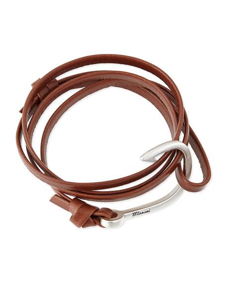 MiansaiHook Leather Bracelet, Brown