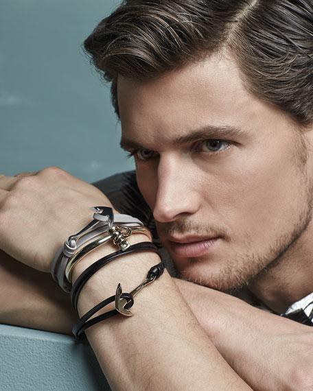 Miansai Anchor Leather Bracelet, Gray