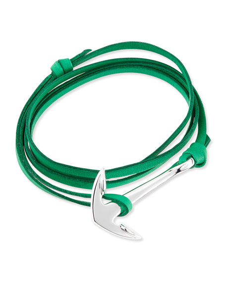 Miansai Anchor Leather Bracelet, Kelly Green