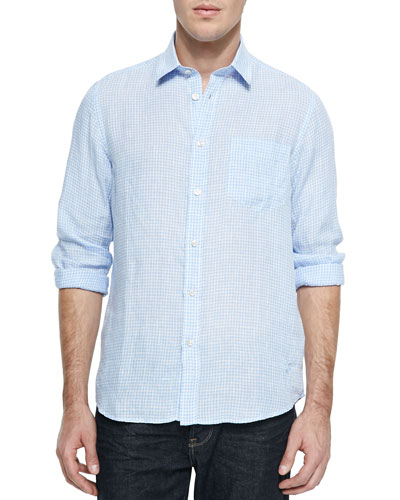 Long-Sleeve Gingham Shirt, Light Blue