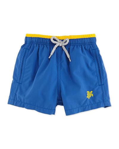 Jika Turtle Logo Swim Trunks, Blue