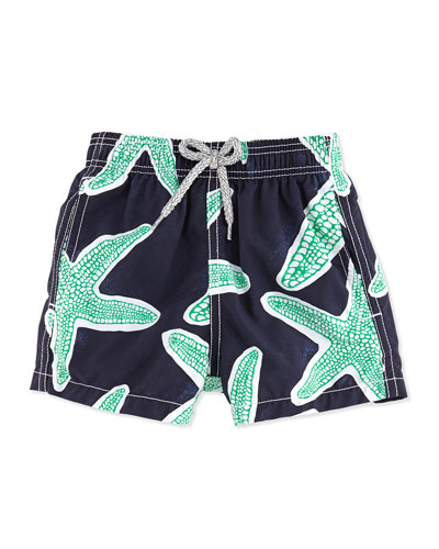 Jim Starfish-Print Swim Trunks, Blue