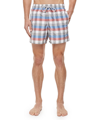 Morio Check-Print Swim Trunks, Multi