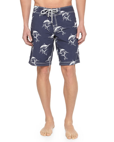 Ocean Swordfish-Print Boardshorts, Blue