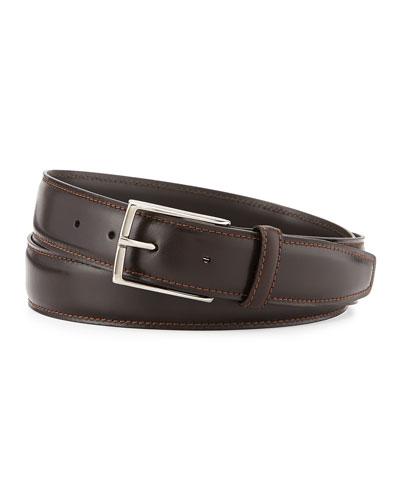 Leather Belt w/Polished Buckle, Dark Brown