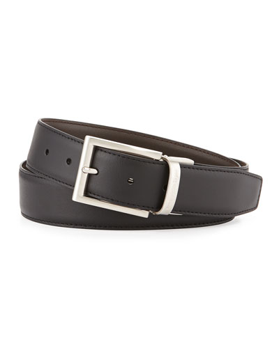 Reversible Belt w/Brushed Buckle, Black/Dark Brown