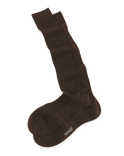 Over-the-Calf Ribbed Lisle Socks, Navy