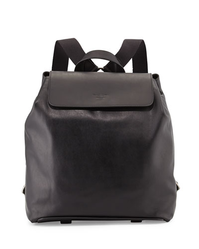 Men's Leather Backpack, Black