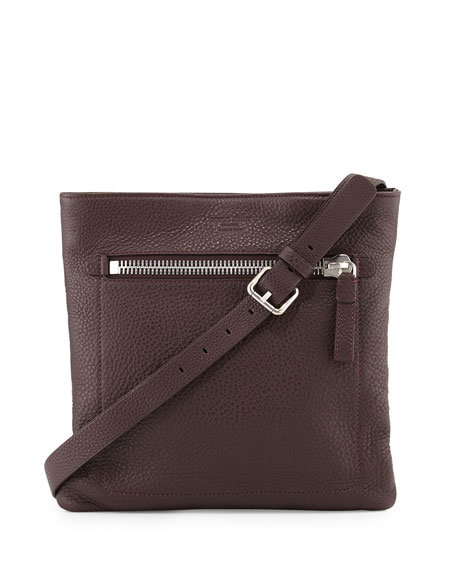 Giorgio Armani Grain Leather Messenger Bag, Red