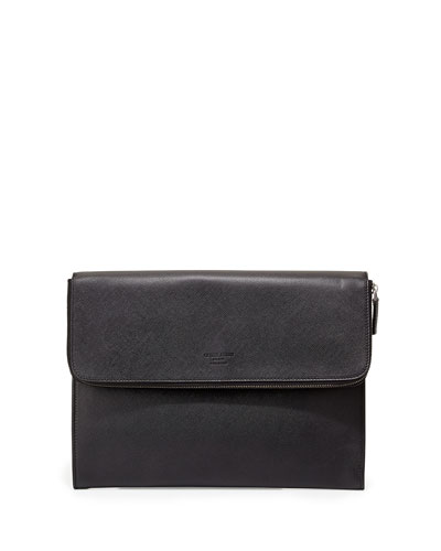 Saffiano Leather Portfolio, Black
