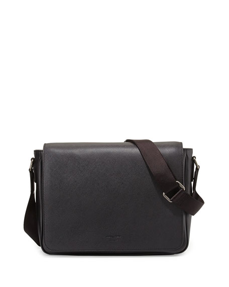 Giorgio Armani Saffiano Leather Messenger Bag, Black