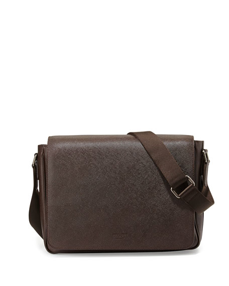 Giorgio Armani Saffiano Leather Messenger Bag, Brown