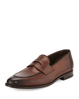 Hugh Leather Penny Loafer, Brown