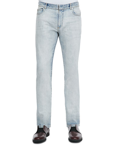 Bleach Wash Denim Jeans, Light Blue
