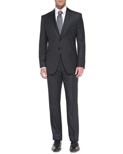 Taylor Pinstripe Suit, Charcoal/Black