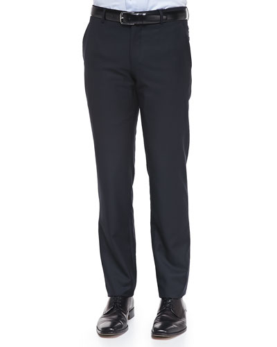 Wool/Cashmere Solid Trousers, Navy