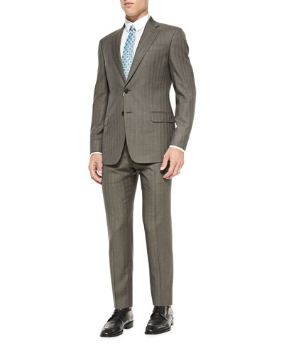 G-Line Herringbone Pinstripe Suit, Mid Brown