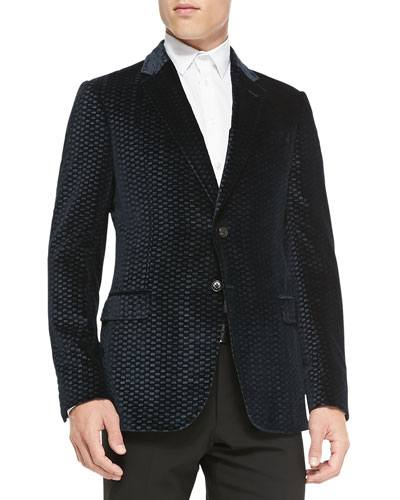 Tile-Embossed Velvet Soft Jacket, Navy