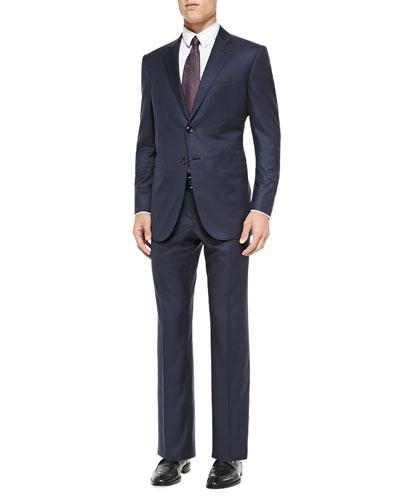 Wall St. Mini-Herringbone Suit, Bright Blue