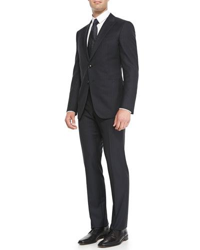 Wall Street Chalk Stripe Suit, Navy